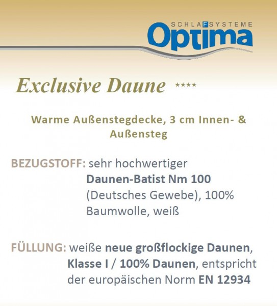 Daunendecke - Optima Exclusiv ****- warme Winterdecke