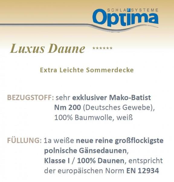 Daunendecke - Optima Luxus ******- leichte Sommerdecke-