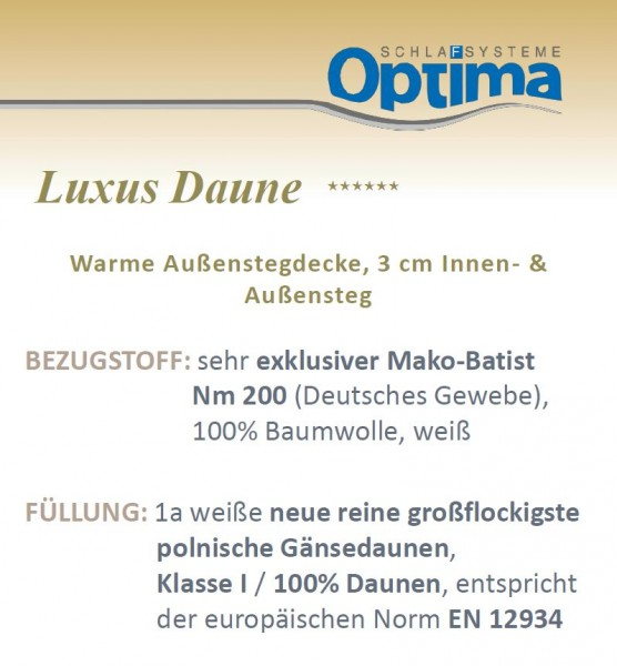 Daunendecke - Optima Luxus ******- warme Winterdecke