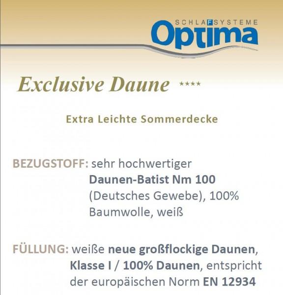 Daunendecke - Optima Exclusiv ****- leichte Sommerdecke